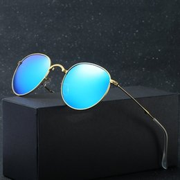 folding sunglasses wholesale Australia - Blue Portable Foldable Folding Sunglasses Polarized Mens Womens Fashion Retro Vintage Sunglasses Driving Mirrored Eyewear 3532