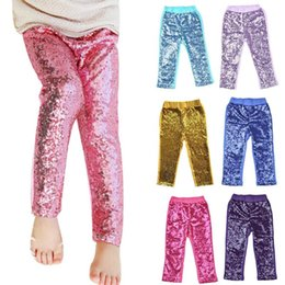 skinny girl slim tights 2019 - Kids Sequins Leggings Glitter Pants Glow Girls Trousers Boutique Long Tights Girls Bling Dance Party Sequins Trousers MM