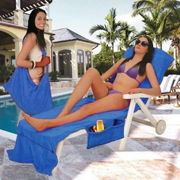 beach towels straps NZ - Lounger Mate Beach Towel Portable Quick-Dry Microfiber Double Layers Sunbathe Lounger Bed Beach Chair Cover Towels With Pocket Strap Blanket