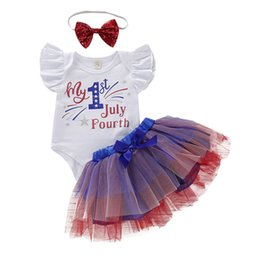 Girls autumn dresses sets online shopping - Girls Jumpsuit Clothing Sets Letter Stars Lace Mesh Dress Set American Flag Independence National Day Elastic Bow Sequin Headbands