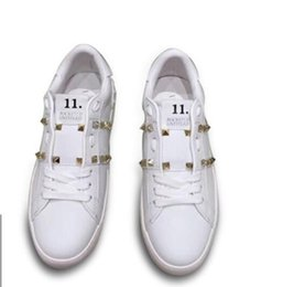 Ladies Leather Walking Shoes Canada - Women sneakers fashion Brand Super soft rivet Lambskin Genuine Leather Thick bottom original sexy Ladies Leisure walk shoes wholesale