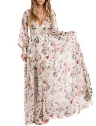 Long Chiffon Belts Australia - Sexy Women Chiffon Maxi Dress Floral Print Deep V Neck Long Sleeve Beach Dress Slim Belted Elegant Boho Long Dress Vestido Longo
