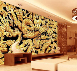 Chinese Carving Dragon Australia - custom size 3d photo wallpaper living room mural Chinese style Dragon Wood carving picture sofa TV backdrop wallpaper non-woven wall sticker