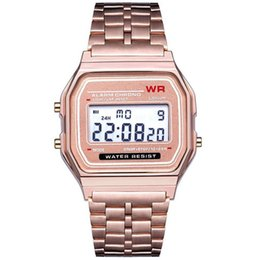 Wholesale Fashion LED Digital Waterproof Quartz Wrist Watch Dress Golden Wrist Watch Women Men digital Orologio da donna