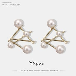 Copper Earrings Australia - Yhpup Stylish Brand Irregular Geometric Stud Earrings Imitation Pearls Copper Earrings Oorbellen S925 Women Party Jewelry Gift
