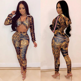 Wholesale long sleeve sexy catsuit for sale – dress 2019 Spring Sexy Deep V Neck Jumpsuit Women Hooded Long Sleeve Party Catsuit Front Hollow Vintage Printed Bodycon Overall