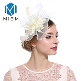 Wholesale M MISM Classic Elegant Womens Feather Fascinator Hairpins for Party Headwear Hair Clip Hats Hair Hoop Accessories Headpiece