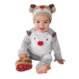 6282df4041019 Deer Clothes NZ - cute baby set cartoon Christmas deer tops pants set for 3-