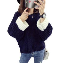 Knitted necK warmers for women online shopping - Fashion Autumn Winter Warm Knitted Pullovers Solid Color Jumper Knitting Sweet Lady Pull Femme Loose Sweaters For Women Ma0048