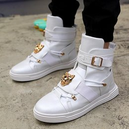 men rubber boots thigh high NZ - Rivet metal Hip Hop boots Men White Solid Dance Platform Flats Fashion buckle High Top Zapatillas Hombre jkm90