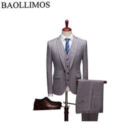 Beige Slim Suits For Men Australia - Casual Suit Men 2019 Slim Fit Mens 3 Piece Plaid Suits Stylish Khaki Wedding Suits For Men Business Formal Wear Suit