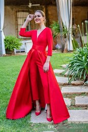 $enCountryForm.capitalKeyWord NZ - 2019 New Red Jumpsuits Prom Dresses 3 4 Long Sleeves V Neck Formal Evening Party Gowns Cheap Special Occasion Pants