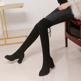 $enCountryForm.capitalKeyWord Australia - Thigh High Boots Winter Women Over The Knee Boots Comfort Suede Ladies Long Woman Shoes Gray Wine Black High Heel