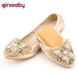 dde0354c238a Girseaby Elegant Loafers Silver Crystal Ballet Flats Casual Slip On Shoes  Woman Shallow Women dress Flat Shoes pluz size 44 F501