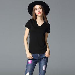 Black V Neck T Shirts Women Australia - 2019 New design V-neck black t-shirt girls brand summer t shirt lady S-3XL fashion casual tshirt women tops chemise camisa