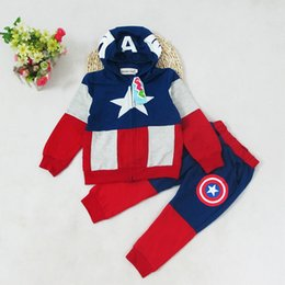 Boys red coats online shopping - kid designer clothes boys Captain America Hoodies suits Tops Pants set baby Avengers Superhero cosplay Hoodies Jacket trousers M147