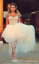 $enCountryForm.capitalKeyWord Australia - Pearl Beaded a Line Wedding dresses With Sweetheart hi Lo Tulle skirt Beach Wedding Bridal Gown cheap