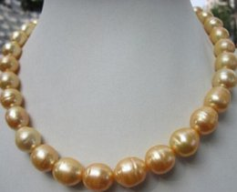 baroque gold south sea pearls UK - 11-13mm Beaded Necklaces South Sea Baroque Gold Yellow Pearl Necklace 18 Inch 14k Gold Clasp