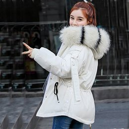 woman loose wool hat Australia - Down jacket winter with big fur collar winter coat women parkas Loose Clothes with Hats and Large Size