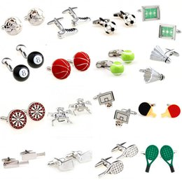 Discount basketball ball shoes - Football Shoes Basketball Tennis Ball Bat Badminton Pingpong Golf Cufflink Cuff Link 1 Pair Free Shipping Big Promotion