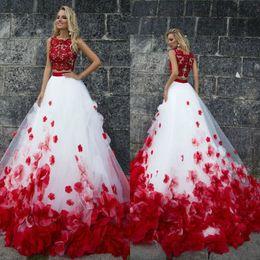 9203077f2 Dos piezas de rojo y blanco vestidos de fiesta una línea de encaje floral  flores vestidos de noche joya cuello vestido de fiesta formal