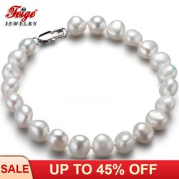 Gifts For Pearl Anniversary NZ - Classic Natural Baroque Pearl Bracelet for Women Anniversary Jewelry Gift 7-8MM White Freshwater Pearl Jewellery Wholesale FEIGE
