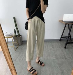 $enCountryForm.capitalKeyWord Australia - Women Trousers Big Size 2019 Summer Harem Pants Calf Length Elastic Waist Thin Solid Color Cotton Linen Casual Pants YoYiKamomo