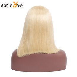 14 inch wigs straight Australia - Straight Short Bobo Wigs Blonde Color 8-14 Inch Lace Front Wigs Pre-plucked With Baby Hair 100% Remy Hair