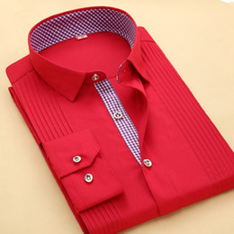 mens party shirts white Australia - Luxury Mens Shirts Brand French Cuff Casual Chemise Red White Business Party Tuxedo Shirt Solid Mens Cufflinks Male Clothing