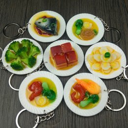 $enCountryForm.capitalKeyWord Australia - New Simulation Food Keychain 5cm Plate small House Toys Creative Dishware Food Pendant Key Chain best party gift