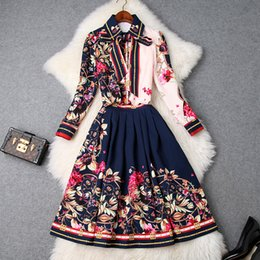 Ribbon Print Australia - 2019 Spring Luxury Long Sleeve Turn-Down Collar Floral Print Ribbon Tie-Bow Blouse + Pleat Skirt Two Piece 2 Pieces Twopiece Set M17T9561