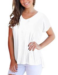 $enCountryForm.capitalKeyWord Australia - Women Side Slits V-neck Loose T-shirts High Low 10 Colors 5 Size Ladies Modal Eco-friendly New Short Sleeve Blank Tops