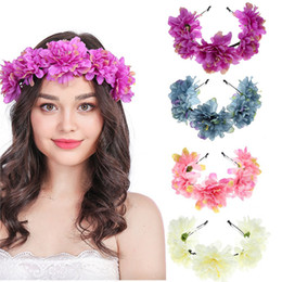 Discount lady head flowers - Lovely Sweat Boho Ladies Girl Floral Flower Festival Wedding Garland Hair Head Band Beach Party Blue,Yellow,Purple,Red C