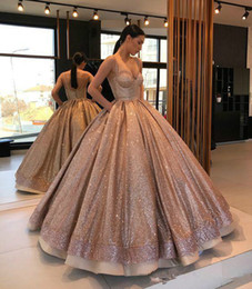 Discount sparkly graduation gowns Rose Gold Sparkly Designer Ball Gown Quinceanera Prom Dresses Spaghetti Straps Ruched Sweet 15 Party Dress For Girls Evening Graduation Gown