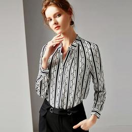 6db35050b60aee 2019 100% Pure Silk Women s Runway Shirts Sexy V Neck Long Sleeves Printed  High Street Fashion Shirts Blouse