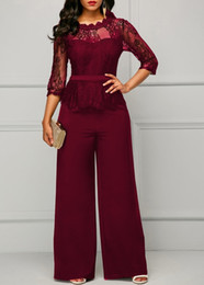 Halter Neck Jumpsuits For Women Australia - Sexy Lace Patchwork Jumpsuit Women Casual See Through O Neck Solid Jumpsuits Long Pants Elegant Office Lady Overalls For Women Y19060501