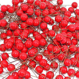 flower gift boxes wholesale NZ - 50Pcs lot Mini Artificial Flower Fruit Stamens Cherry Christmas Plastic Pearl Berries for Wedding DIY Gift Box Decorated Wreaths