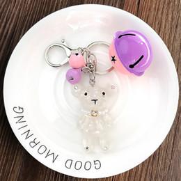 $enCountryForm.capitalKeyWord NZ - ELVASEK Women Accessories New Fashion Cute Jelly Acrylic Bear Bell Car Key Ring Pendants Ladies Bags Hanging Ornaments