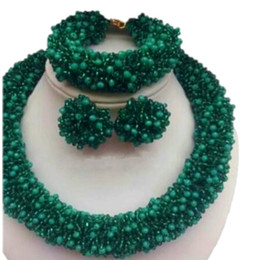 $enCountryForm.capitalKeyWord Australia - High Quality Dubai Necklace Jewelry Set Green Bold African Choker Necklace Set Bracelet Earrings Custom Color Jew Indian Beads