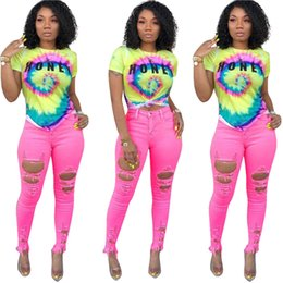 $enCountryForm.capitalKeyWord Australia - S-3XL Women T-shirts Tops Color Tie-dye Trendy Rainbow Color Letters Short Sleeve Crop Top Girls Tshirt Streetwear Plus Size A42507
