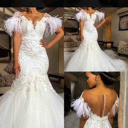 $enCountryForm.capitalKeyWord Australia - 2020 Black Bride Mermaid Wedding Dresses V Neck Short Sleeves Lace Feather Pearls Country Wedding Gowns Sweep Train Plus Size Bridal Dress