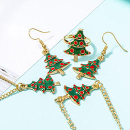 african american christmas tree 2021 - Christmas Tree Pendant Necklaces Charm Bracelets Earrings Rings Set Christmas Statement Jewelry Sets Gifts for Women Gir