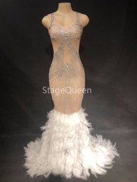 clubwear dresses cut outs UK - Women Sexy Stage White Feather Nude Mesh Stones Dress Birthday Celebrate Transparent Net Yarn Dress Evening Costume Dress DS DJ Outfit
