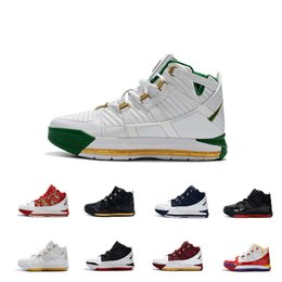 low priced 83f27 a8d6a Lebron Zoom III 3 New Arrival  23 Home SuperBron Mens Basketball Shoes High  quality White Blue Red Black James 3s Sports Sneakers US7-12