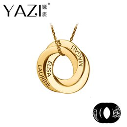 $enCountryForm.capitalKeyWord Australia - Yazi Unique Name Necklace Three Circle Name Pendant Gold Color Copper Personal Handmade Engraved Jewelry Memory Gift For Lovers J190625