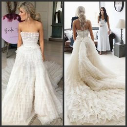 Skirts Zipper Back NZ - 2019 New Fashion Luxury Wedding Dresses Strapless Tulle Tiered Skirts Ball Gown Wedding Dresses Sweep Train Zipper Back Bridal Gowns