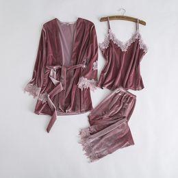Floral garniture sexy femmes velours 3pcs vêtement de nuit automne hiver chaud pyjama pyjama jeu de nuit solide colar nightwear house wear m-xl en Solde