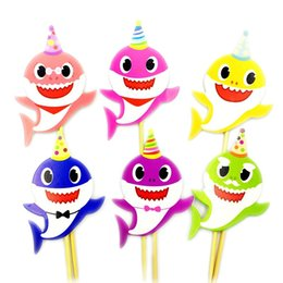 Wholesale 2019 Baby Shark Bake Cake Card Animal Cake Inserts Flags Cartoon Cupcake Toothpicks Card Decor Boys Girl Kids Birthday Party Supplier C71001