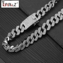 silver necklace chain mens set Australia - 20mm Full Iced Out Heavy Cuban Chains Necklace Prong Setting Necklace Mens Gold Silver Hip Hop Bling Cz Rapper Necklace Jewelry MX190730
