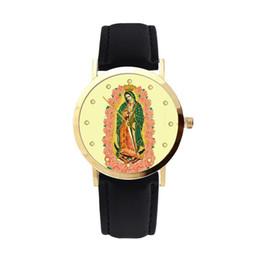 $enCountryForm.capitalKeyWord UK - Leather Strap Quartz Watch Women Virgin Mary Print Dial Analog Wristwatch Leather Strap Sport Ladies Elegant Wrist Watch Girl